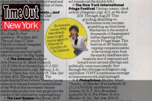 Featured in the FringeNYC listing of Time Out New York